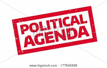 Political Agenda rubber stamp. Grunge design with dust scratches. Effects can be easily removed for a clean, crisp look. Color is easily changed.