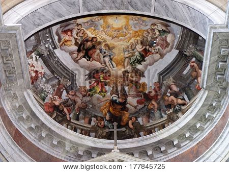 ROME, ITALY - SEPTEMBER 02: The frescoes on the apse, Church San Giacomo in Augusta in Rome, Italy on September 02, 2016.