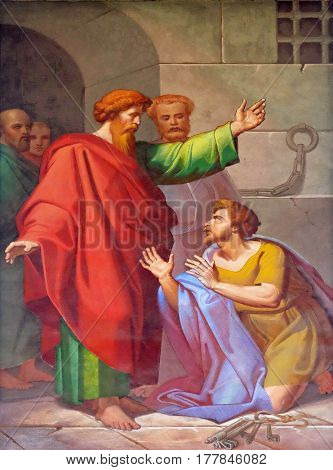 ROME, ITALY - SEPTEMBER 05: The fresco with the image of the life of St. Paul: Conversion of the Jailer, basilica of Saint Paul Outside the Walls, Rome, Italy on September 05, 2016.