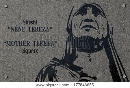 TIRANA, ALBANIA - SEPTEMBER 29: The inscription on the Square of Mother Teresa in the center of Tirana, Albania on September 29, 2016.