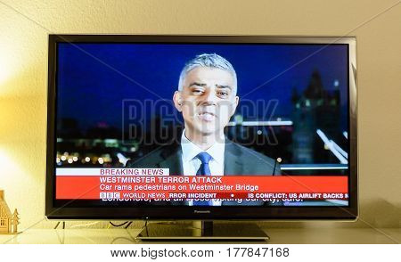 PARIS FRANCE - MAR 22 2017: Mayor of London Sadiq Khan makes a statement for news outleet following the terrorist incident in Westminster live breaking news from BBC News