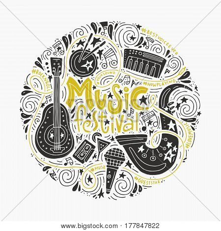 Round concept for music festival advertisment or music party. Handdrawn illustratuins of musical instruments.
