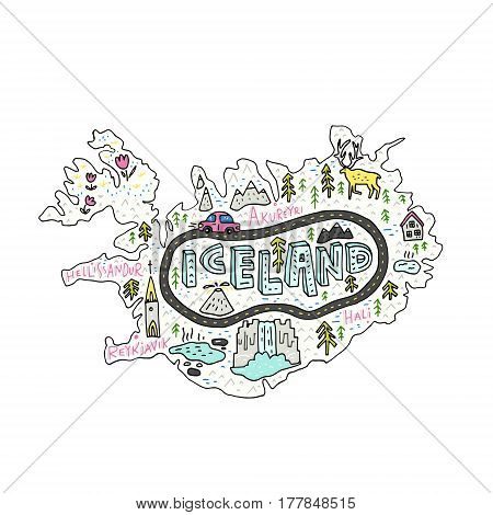 Cartoon map of Iceland. Handdrawn illustration with all main tourist attractions.