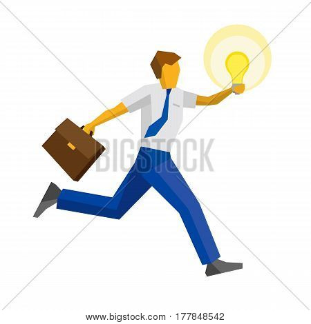 Businessman running with case and raised hand holding the lamp. Isolated on white background. Business concept (metaphors) - new fresh idea. Flat vector clip art.