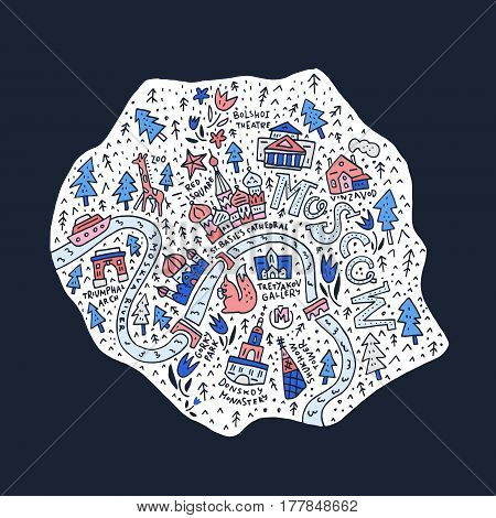 Cartoon map of Moscow. Vector cartography. All main tourist attractions. poster