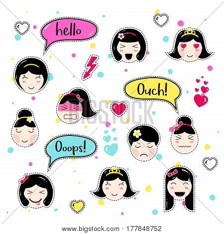 Set of cute patch badges. Girl emoji with different emotions and hairstyles. Kawaii emoticons, speech bubbles hello, ouch, ooops. Set of stickers, pins in anime style. Isolated vector illustration.