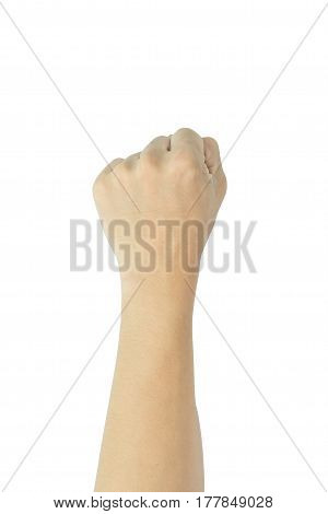 Male clenched fist isolated on a white background