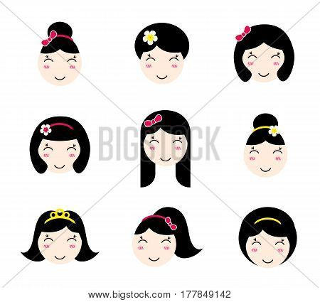 Set of cute girl characters with different hairstyles. Anime style. Kawaii asian girls with long and short hair. Flat avatar and web site icons for beauty salon. Vector EPS10 illustration.