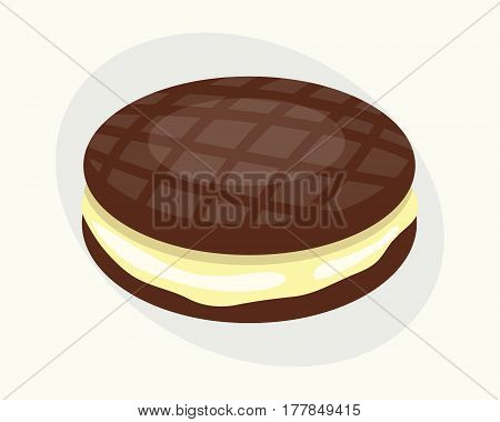 Cookie chocolate homemade breakfast bake cakes isolated and tasty snack biscuit pastry delicious sweet dessert bakery eating vector illustration. Gourmet indulgence stack unhealthy confectionery.