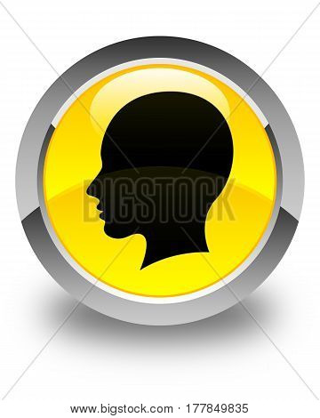 Head Female Face Icon Glossy Yellow Round Button