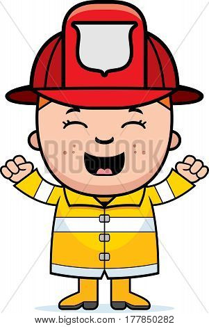 Boy Firefighter Excited