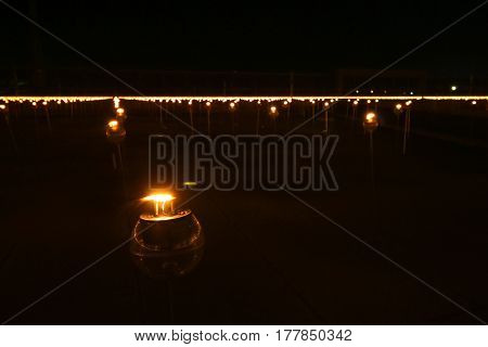 Closeup Candle To Pay Respect To Lord Buddha On Makabucha Day