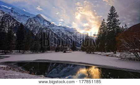 Sunset in a Mountain. Chamonix Mont Blanc