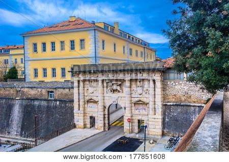 Scenic view at outdoors public entrance in old city center, Land Gate in town Zadar, Croatia.