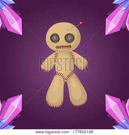 Voodoo doll flat icon punishment sign spirituality anger magic toy and halloween needle witchcraft horror symbol vector illustration. Dead power curse traditional scary magical concept.