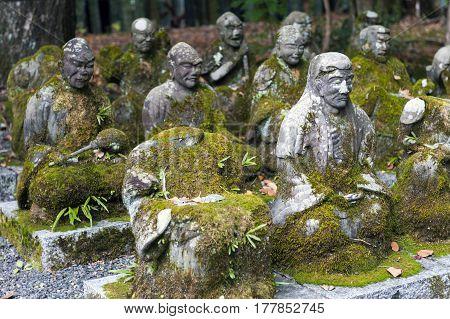 Kyoto, Japan - November 2016: Statues Of Japanese Buddhist Monks At Sekizan Zen-in, Japanese Temple