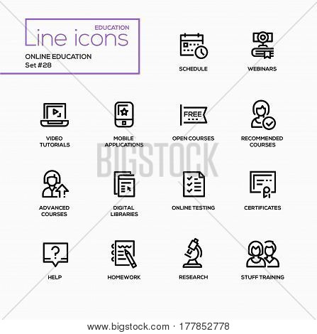 Online education - modern vector single line icons set. Calendar, schedule, time, camera, book, webinar, video, tutorial, laptop, mobile application, open course, digital library, online testing, certificate, help, homework, research, staff training