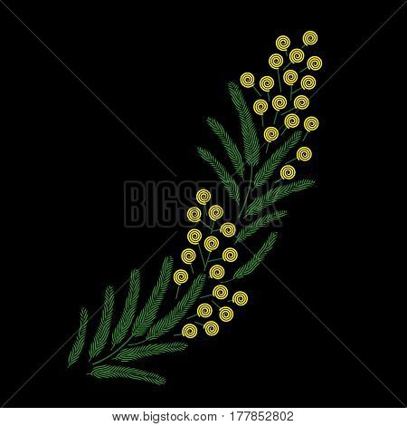 Vector spring beautiful stylised ornate blossoming Mimosa branch illustrations