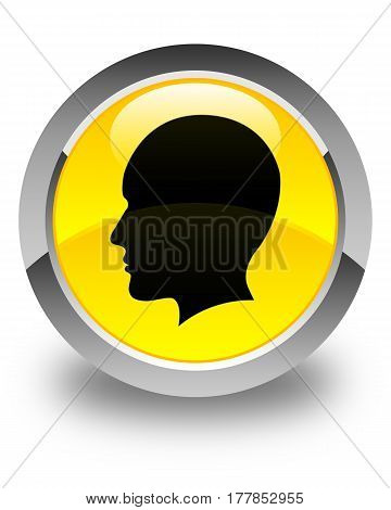 Head Men Face Icon Glossy Yellow Round Button