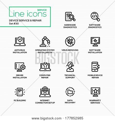 Device service repair - modern vector single line icons set. Hardware diaognostics, software, antivirus, operating system installation, virus removing, technial support, pc building, internet connection setup, data recovery, warranty service