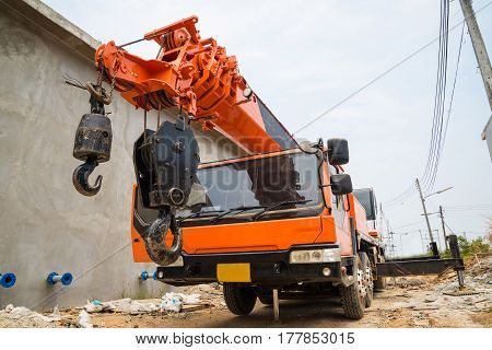 Boom Truck crane truck hydraulic control. construction poster