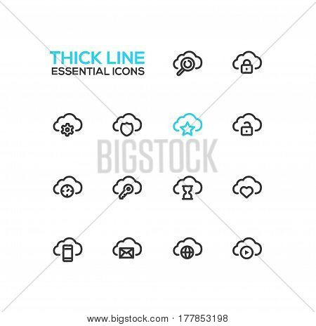 Clouds with Symbols - modern vector single thick line icons set. Cloud, magnifying glass, lock, gear, shield, star, unlock, time, key, hourglass, heart, mobile device, letter, globe, player