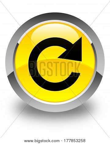 Reply Rotate Icon Glossy Yellow Round Button