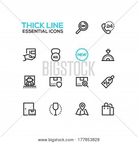 Delivery Service - modern vector single thick line icons set. Magnifying glass, phone, twenty four hour, floppy disk, new, truck, security, parcel, discount, map, bag