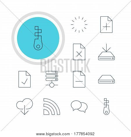 Vector Illustration Of 12 Internet Icons. Editable Pack Of Wireless Network, Fastener, Information Load And Other Elements.