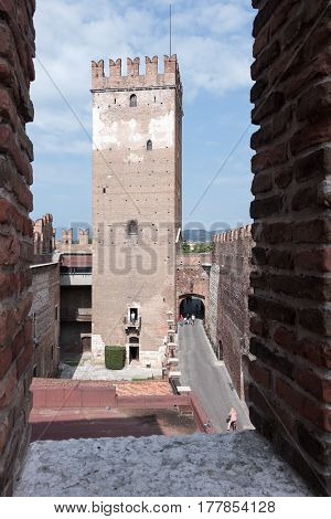 Watchtower And Passage Through The Castelvecchio Castle In Verona