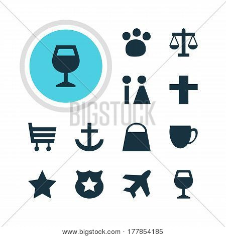 Vector Illustration Of 12 Travel Icons. Editable Pack Of Cop, Anchor, Cross And Other Elements.