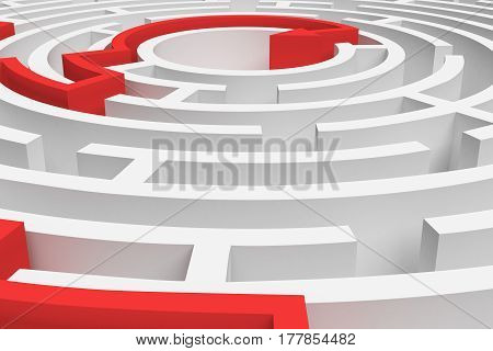 3d rendering of a white round maze with a red arrowed line showing the way out in close-up view. Secrets and mysteries. Puzzles and problems. Questions and answers.