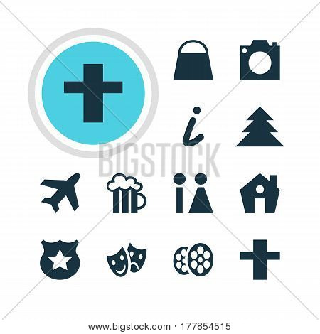Vector Illustration Of 12 Location Icons. Editable Pack Of Map Information, Handbag, Aircraft Elements.