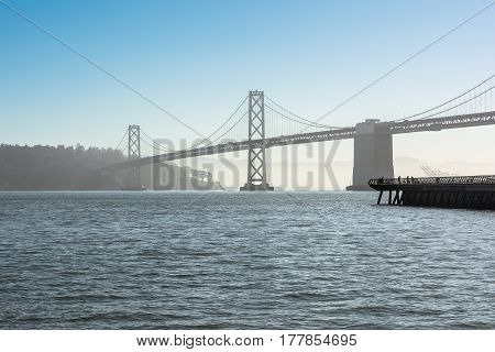 View of the San Francisco Oakland Bay Bridge in San Francisco Bay, California
