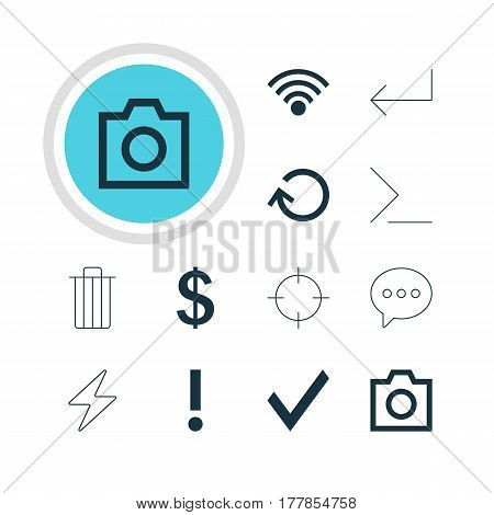 Vector Illustration Of 12 Member Icons. Editable Pack Of Money Making, Garbage, Bolt And Other Elements.