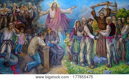 VAU I DEJES, ALBANIA - SEPTEMBER 30: The altarpiece shows the faith of the Albanian people in Jesus Christ in Mother Teresa cathedral in Vau i Dejes, Albania on September 30, 2016.