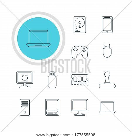 Vector Illustration Of 12 Notebook Icons. Editable Pack Of Flash Drive, Memory Chip, Gamepad And Other Elements.