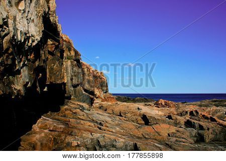 Stone Rocky Shoreline At Acadia National Park