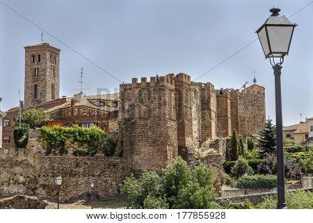 Lozoya river view. This river runs through the historic city of Buitrago Madrid province Spain.