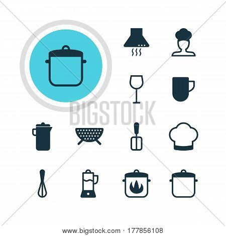 Vector Illustration Of 12 Kitchenware Icons. Editable Pack Of Wine, Stewpot, Corolla And Other Elements.