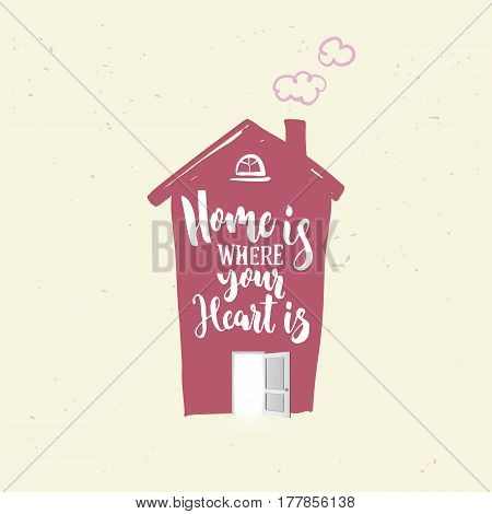 House icon in purple color with open door and chimney isolated on white background. Home is where your heart lettering. Hand drawn icon. Vector illustration