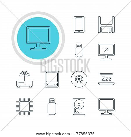 Vector Illustration Of 12 Laptop Icons. Editable Pack Of Pda, Objective, Flash Drive And Other Elements.