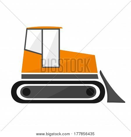 Orange bulldozer in the flat. crawler tractor with a bucket. Isolated