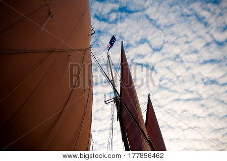 Schooner Sails With Sky Of The Coast Of Maine