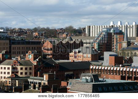 View of building roof tops in Leeds city center.