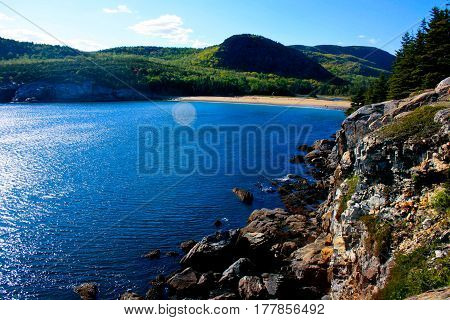 View Of Sand Beach At Acadia National Park