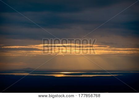 Sunset Overlooking Bar Harbor From Cadillac Mountain