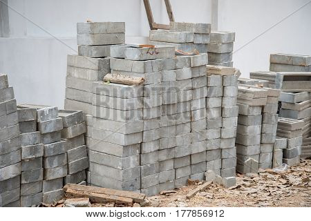 Bricks for construction on construction site. building