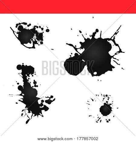 Paint splatter vector. Splash ink blot set.