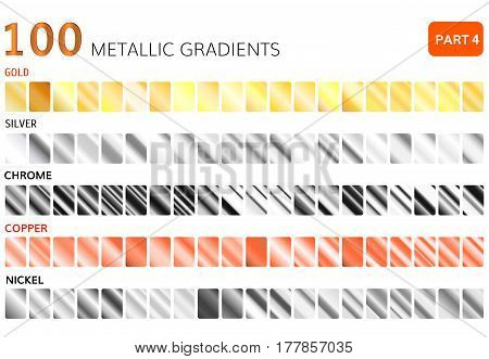 Metallic gradients big set. Golden , silver, chrome , copper , nickel gradients.